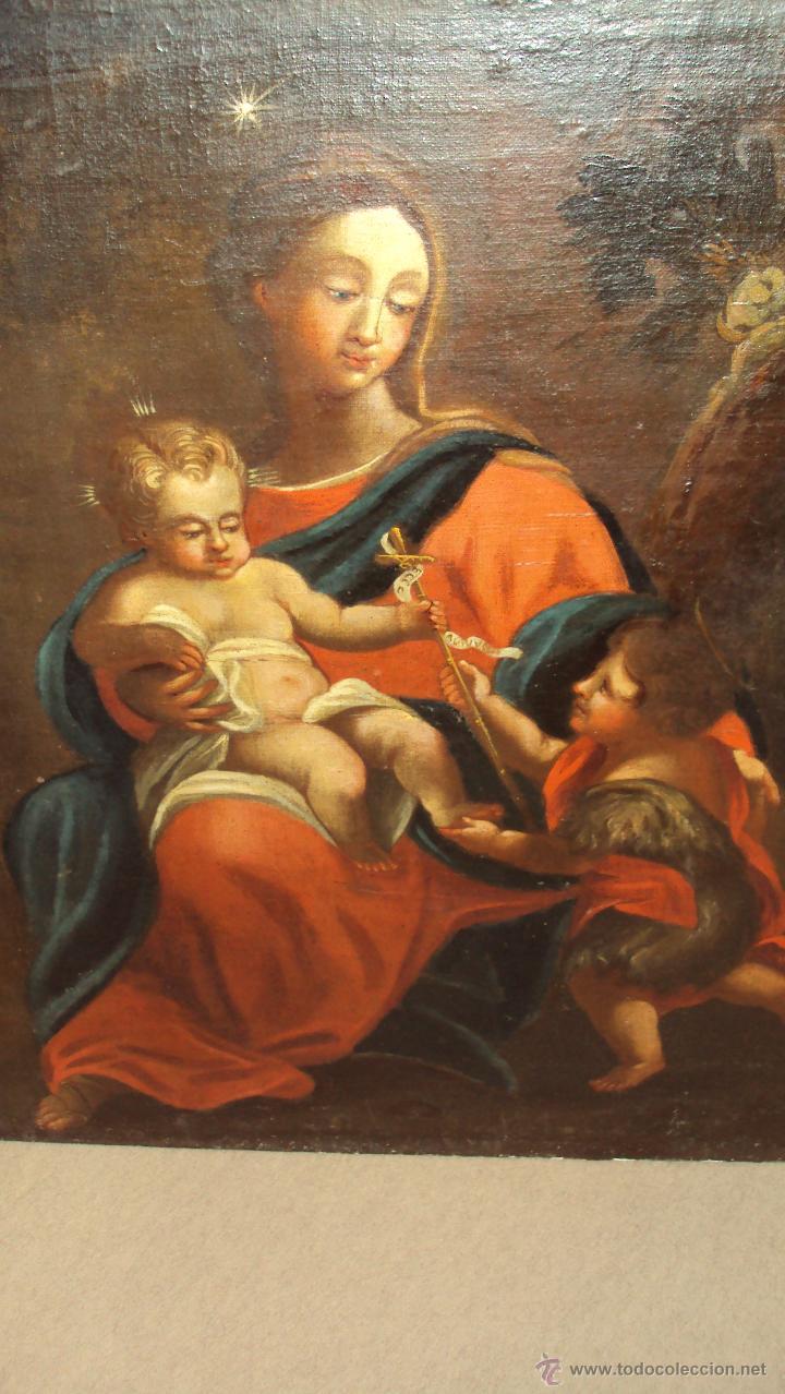 Arte: Oleo Sobre Lienzo del Siglo XVIII Virgen Niño y San Juanito - Marqués de Almunia - Foto 2 - 46527392