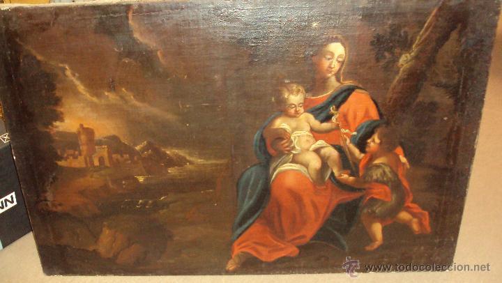 Arte: Oleo Sobre Lienzo del Siglo XVIII Virgen Niño y San Juanito - Marqués de Almunia - Foto 3 - 46527392