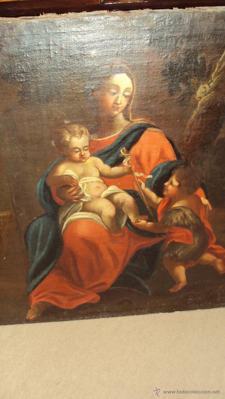 Arte: Oleo Sobre Lienzo del Siglo XVIII Virgen Niño y San Juanito - Marqués de Almunia - Foto 5 - 46527392