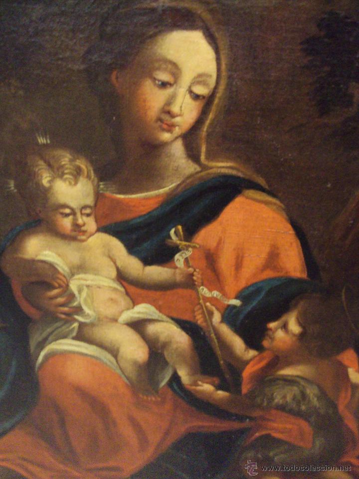 Arte: Oleo Sobre Lienzo del Siglo XVIII Virgen Niño y San Juanito - Marqués de Almunia - Foto 6 - 46527392