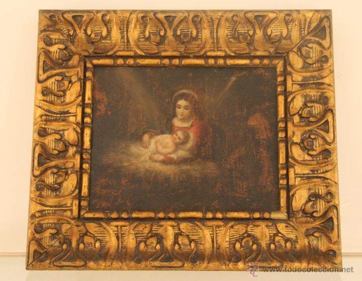 ANTIGUO OLEO SOBRE COBRE SIGLO XVIII CON IMAGEN DE LA VIRGEN Y EL NIÑO – ANONIMO MAGNIFICAMENTE ENMA (Arte - Arte Religioso - Pintura Religiosa - Oleo)