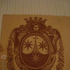 Arte: ANTIGUO GRABADO ESCUDO ORDEN DEL CARMEN, CARMELITAS, CARMELITANA, 7,4 X 8 CM. Lote 49168247