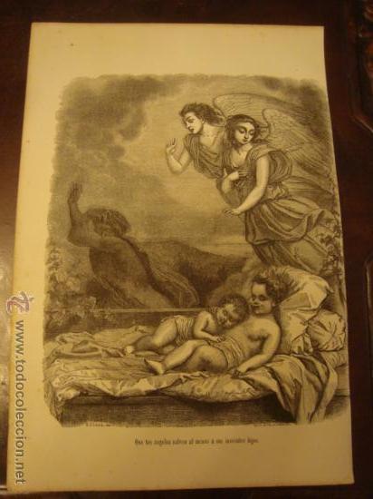ANTIGUO GRABADO RELIGIOSO , ANGELES Y NIÑOS JESUS, G. STALLA DEL. BEST. HOTELIN REGNIERR. 23,5 X 16 (Arte - Arte Religioso - Grabados)