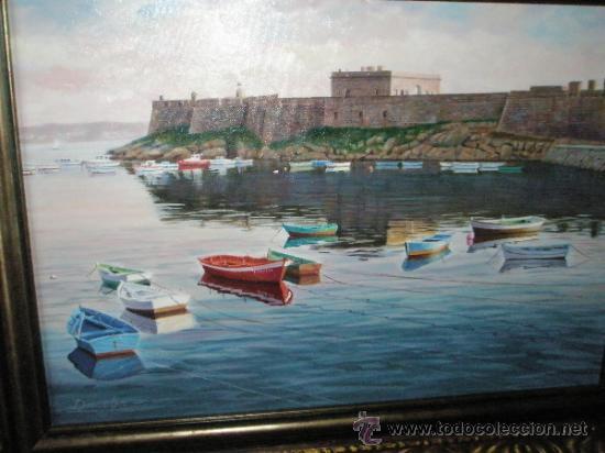 Arte: CUADRO-OLEO-DACOBA-CASTILLO DE SAN ANTÓN-LA CORUÑA-74X57 Y 54X37 CMS-VER FOTOS. - Foto 11 - 46761376
