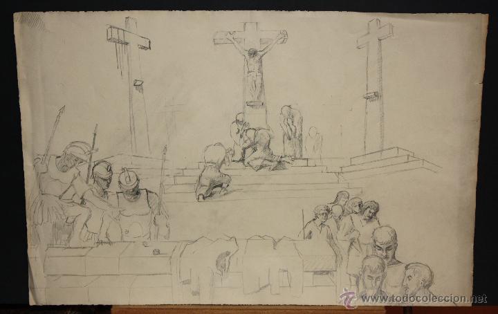 ANONIMO. DIBUJO A LAPIZ SOBRE PAPEL. ESCENA RELIGIOSA (Arte - Arte Religioso - Pintura Religiosa - Otros)