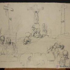 Arte: ANONIMO. DIBUJO A LAPIZ SOBRE PAPEL. ESCENA RELIGIOSA. Lote 46766457