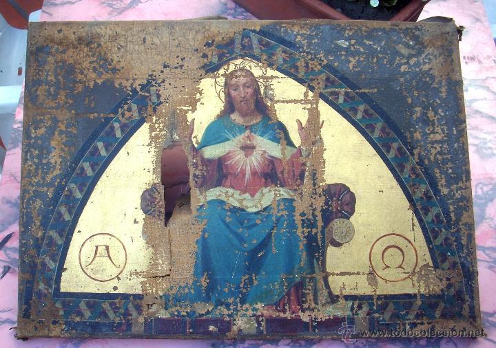 ANTIGUO 35X50 CUADRO ICONO BIZANTINO ALFA Y OMEGA SAGRADO CORAZÓN JESUS - CIRCA 1800 (Arte - Arte Religioso - Iconos)