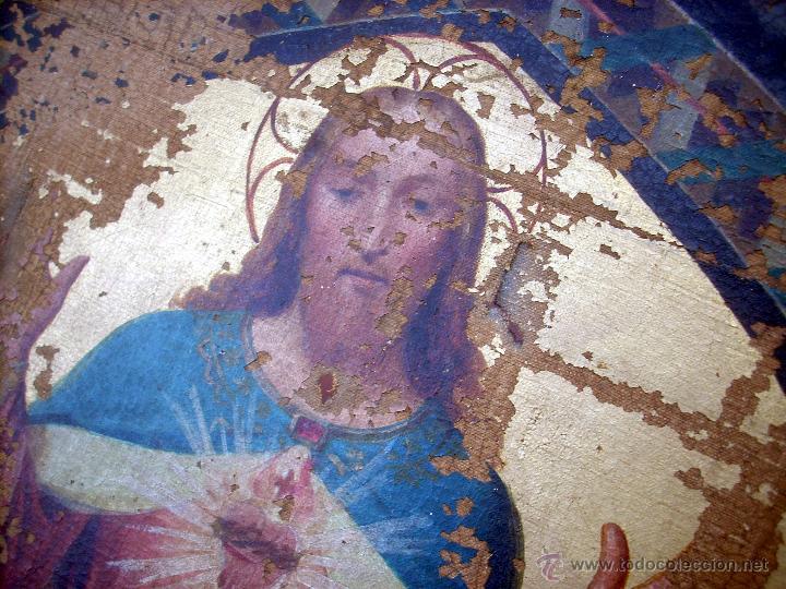 Arte: ANTIGUO 35X50 CUADRO ICONO BIZANTINO ALFA Y OMEGA SAGRADO CORAZÓN JESUS - CIRCA 1800 - Foto 2 - 46914160