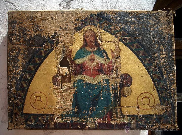 Arte: ANTIGUO 35X50 CUADRO ICONO BIZANTINO ALFA Y OMEGA SAGRADO CORAZÓN JESUS - CIRCA 1800 - Foto 6 - 46914160
