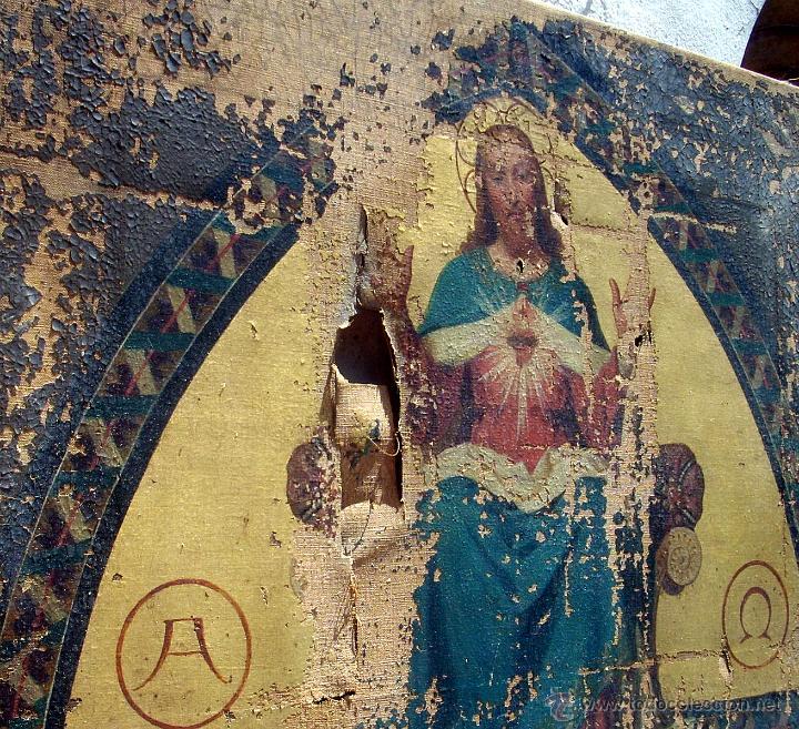 Arte: ANTIGUO 35X50 CUADRO ICONO BIZANTINO ALFA Y OMEGA SAGRADO CORAZÓN JESUS - CIRCA 1800 - Foto 8 - 46914160