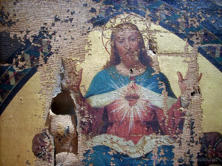 Arte: ANTIGUO 35X50 CUADRO ICONO BIZANTINO ALFA Y OMEGA SAGRADO CORAZÓN JESUS - CIRCA 1800 - Foto 9 - 46914160