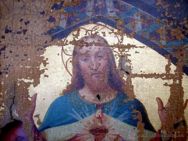 Arte: ANTIGUO 35X50 CUADRO ICONO BIZANTINO ALFA Y OMEGA SAGRADO CORAZÓN JESUS - CIRCA 1800 - Foto 13 - 46914160