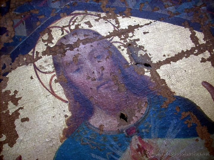 Arte: ANTIGUO 35X50 CUADRO ICONO BIZANTINO ALFA Y OMEGA SAGRADO CORAZÓN JESUS - CIRCA 1800 - Foto 14 - 46914160