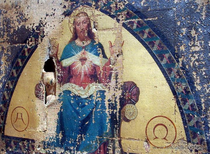 Arte: ANTIGUO 35X50 CUADRO ICONO BIZANTINO ALFA Y OMEGA SAGRADO CORAZÓN JESUS - CIRCA 1800 - Foto 15 - 46914160