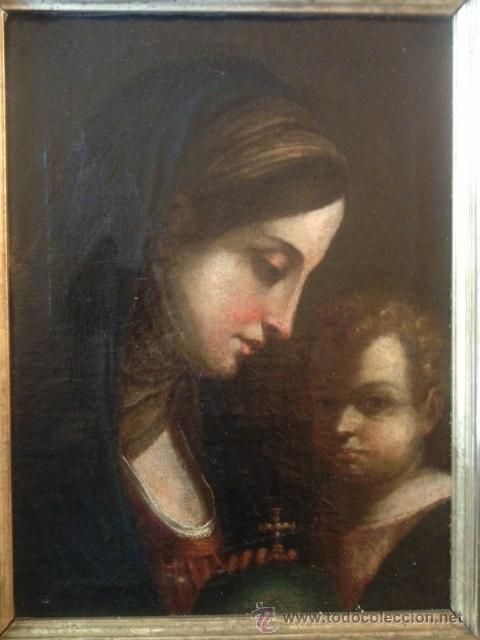 OLEO SOBRE TELA, VIRGEN CON EL NIÑO, ESCUELA SEVILLANA ??, SIGLO XVII, EN MUY BUEN ESTADO (Arte - Arte Religioso - Pintura Religiosa - Oleo)