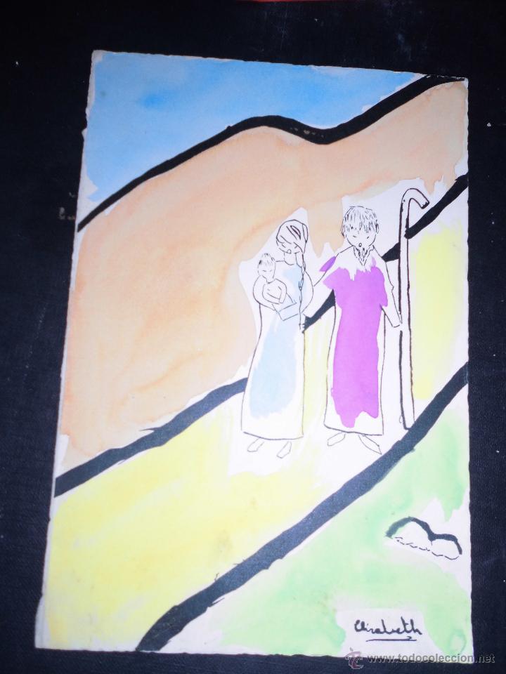 NACIMIENTO BELEN ANTIGUA ACUARELA FIRMA CREO QUE SEA DE FRANCIA (Arte - Arte Religioso - Pintura Religiosa - Acuarela)