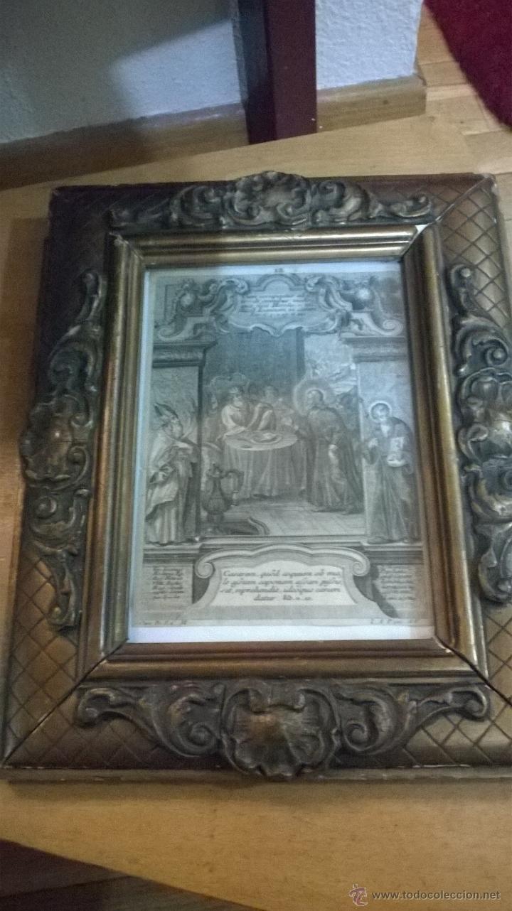 ANTIGUO GRABADO SIGLO XVII CON MARCO MUY ANTIGUO. (Arte - Arte Religioso - Grabados)