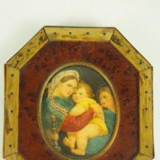 Art: LA VIRGEN DE LA SILLA.MINIATURA.ÓLEO SOBRE HUESO, DE UN ORIGINAL DE RAFAEL, XIX.. Lote 47104515