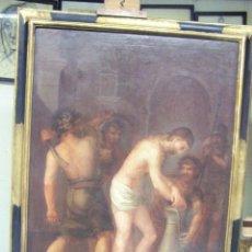 Arte: LA FLAGELACIÓN DE CRISTO OLEO SOBRE LIENZO. PINTURA BARROCA PRINCIPIOS DEL SIGLO XVIII. MARCO ÉPOCA. Lote 47344899