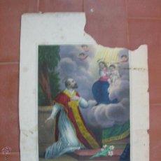 Arte: ANTIGUA LITOGRAFIA ILUMINADA A MANO DE SAN FELIPE NERI.-ST.PHILIPPE DE NERY.(DEFECTUOSA).. Lote 47414667