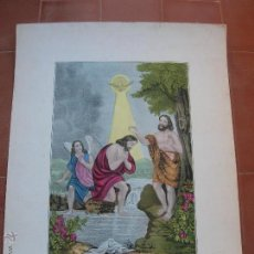 Arte: BAPTISM OF CHRIST.ANTIGUA LITOGRAFIA ILUMINADA A MANO.LITH& PUB.BY J.BRILLIE.NEW YORK.. Lote 47416541