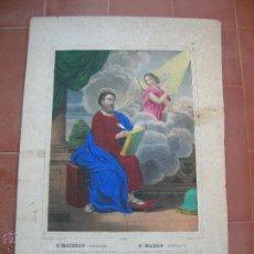 Arte: SAN MATEO-ST.MATHIEU.ANTIGUA LITOGRAFIA ILUMINADA A MANO.IMP.TURGIS.PARIS.. Lote 47416627