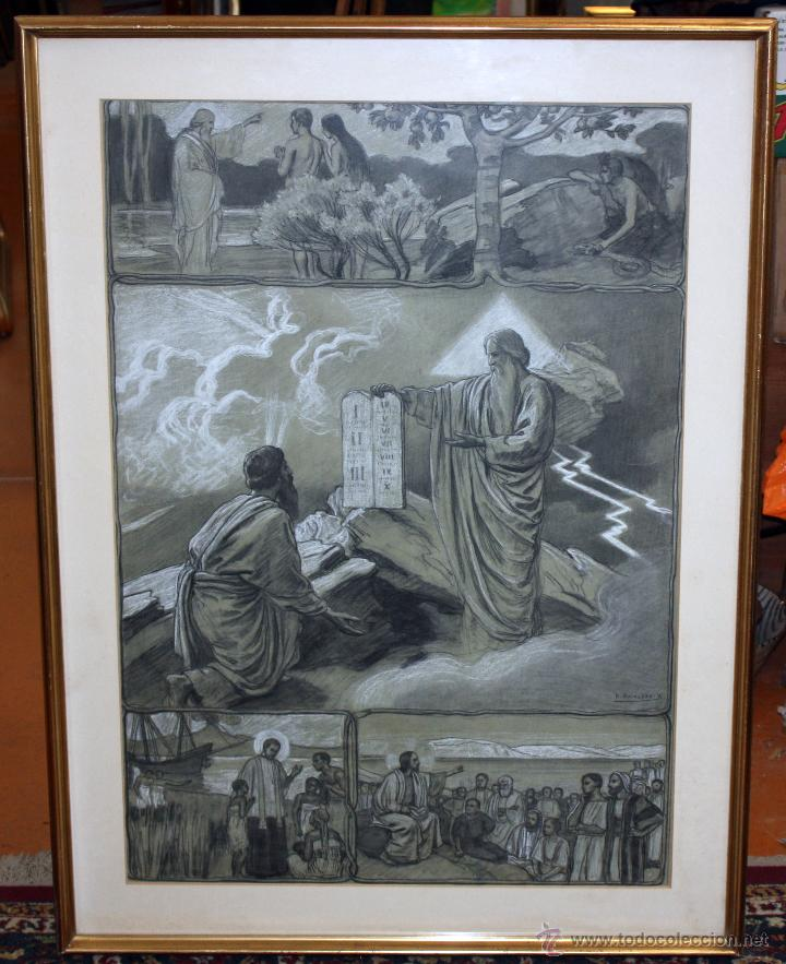 DIONÍS BAIXERAS VERDAGUER (BARCELONA, 1862 - 1943) TÉCNICA MIXTA SOBRE PAPEL. ESCENAS RELIGIOSAS (Arte - Arte Religioso - Pintura Religiosa - Otros)