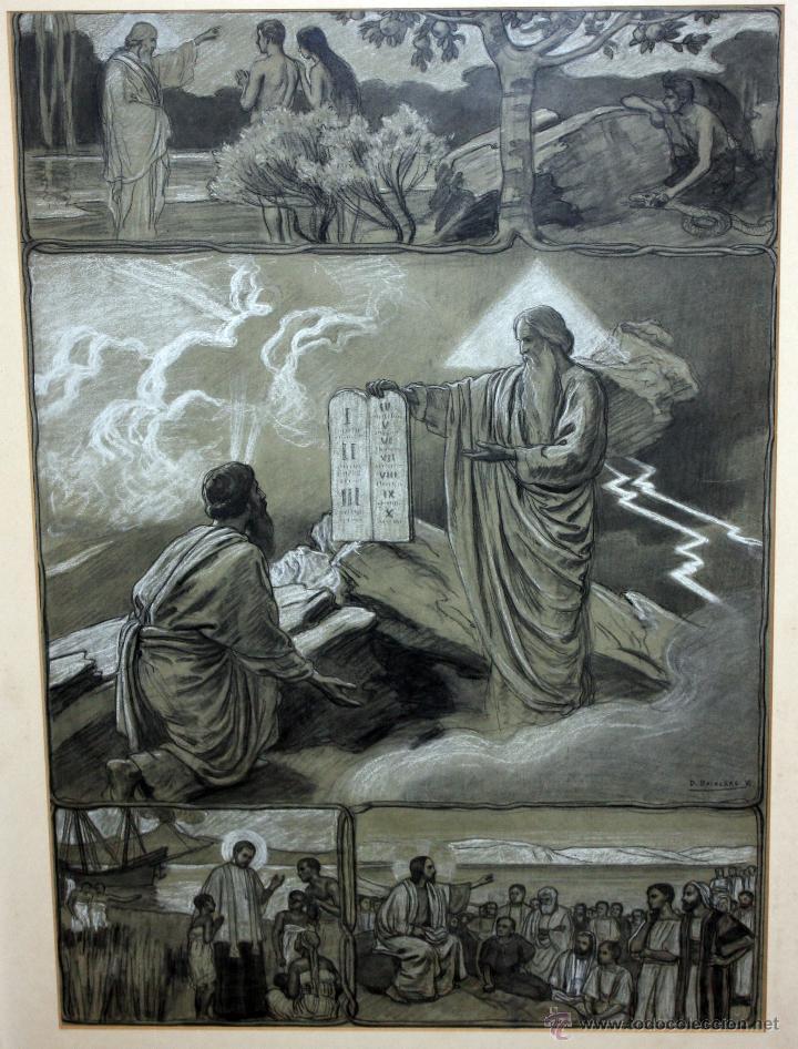 Arte: DIONÍS BAIXERAS VERDAGUER (BARCELONA, 1862 - 1943) TÉCNICA MIXTA SOBRE PAPEL. ESCENAS RELIGIOSAS - Foto 2 - 47478198