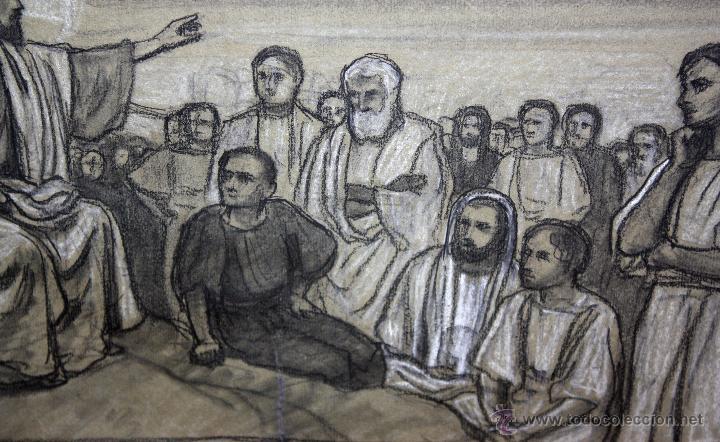 Arte: DIONÍS BAIXERAS VERDAGUER (BARCELONA, 1862 - 1943) TÉCNICA MIXTA SOBRE PAPEL. ESCENAS RELIGIOSAS - Foto 3 - 47478198