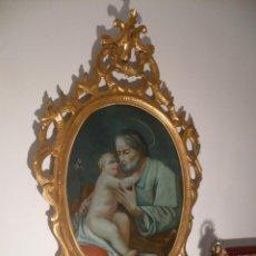 Arte: PINTURA AL VIDRIO CON CORNUCOPIA DORADA DE SAN JOSÉ. S. XVIII ORIGINAL EN PERFECTO ESTADO. Lote 47661638