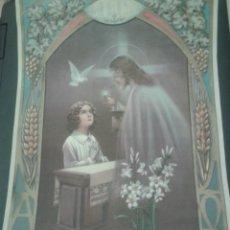 Arte: ANTIGUA LITOGRAFIA RELIGIOSA DE JESUCRISTO. RECUERDO DE LA PRIMERA COMUNION. Lote 48555957