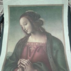 Arte: ANTIGUA LITOGRAFIA RELIGIOSA 32,5CM LA VIRGEN MARIA. PONE CABEZA DE VIRGEN GALERIA PITTI FLORENCIA. Lote 47703788