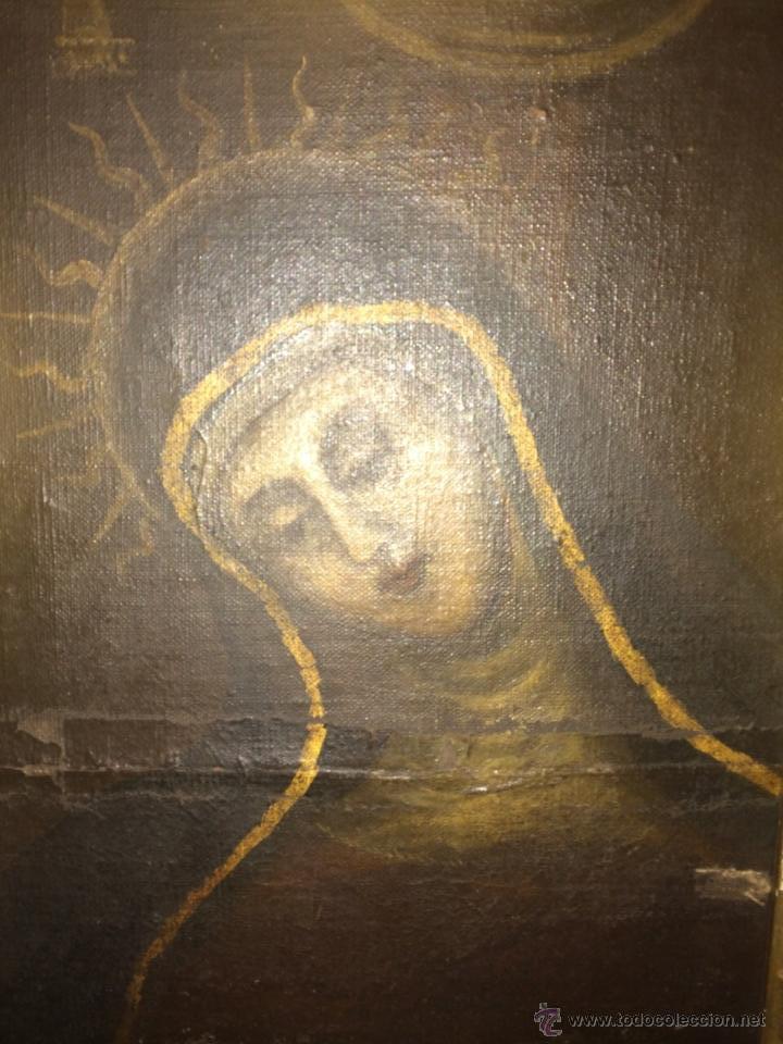 ANTIGUO ÓLEO RELIGIOSO, VIRGEN DOLOROSA SIGLO XVIII (Arte - Arte Religioso - Pintura Religiosa - Oleo)