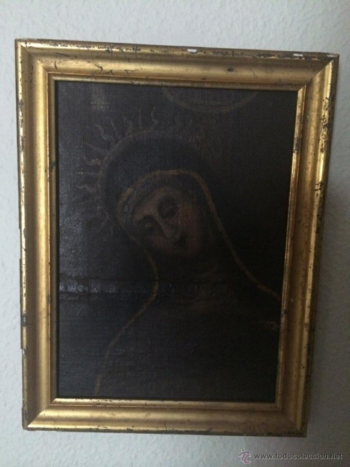 Arte: Antiguo Óleo religioso, virgen dolorosa siglo XVIII - Foto 2 - 47698567
