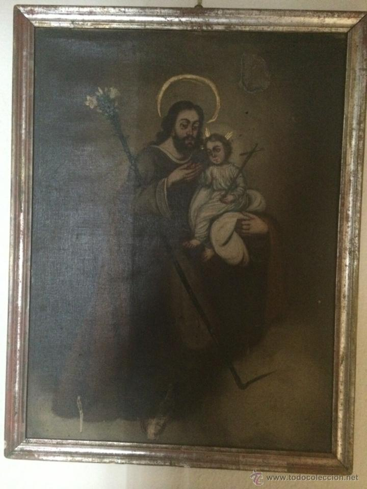 GRAN ÓLEO RELIGIOSO. SAN JOSÉ CON NIÑO S.XVIII (Arte - Arte Religioso - Pintura Religiosa - Oleo)