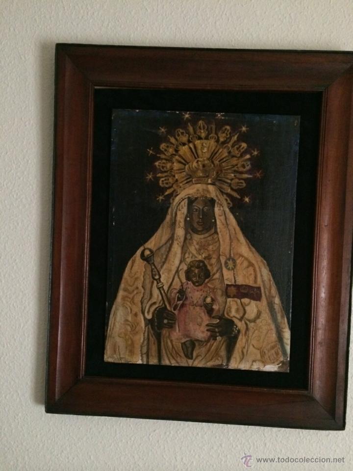 ANTIGUO ÓLEO RELIGIOSO SOBRE TABLA. NTRA. SRA. DE LA MERCED. JEREZ DE LA FRONTERA. S.XIX (Arte - Arte Religioso - Pintura Religiosa - Oleo)