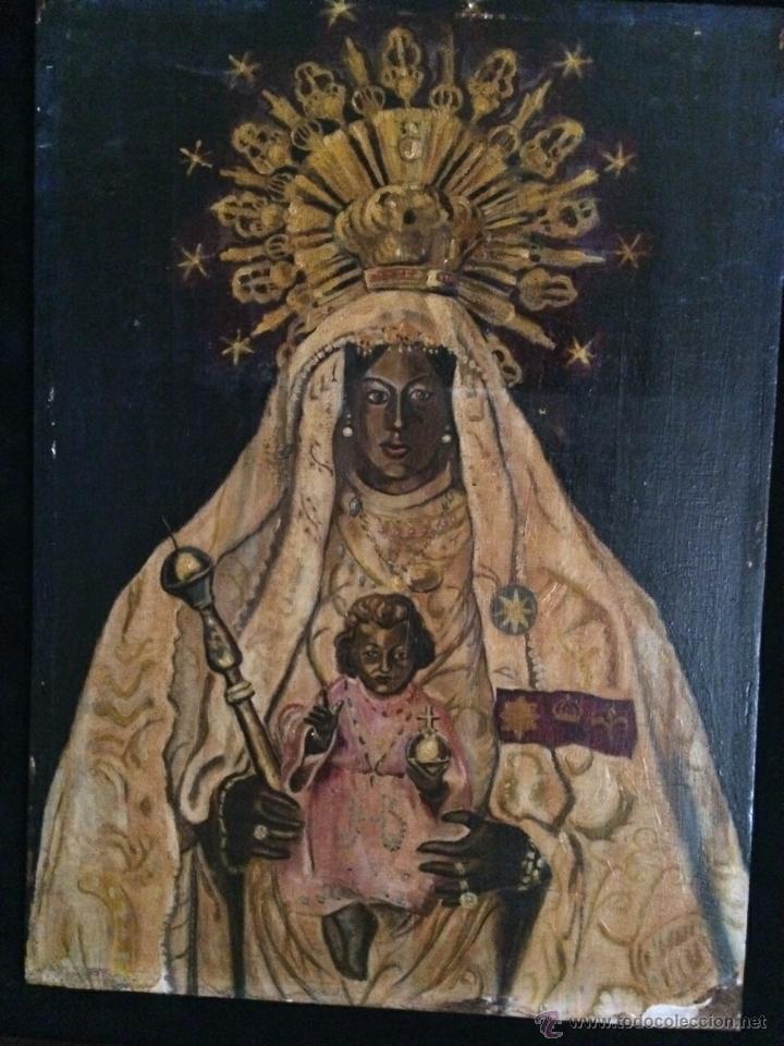 Arte: Antiguo Óleo religioso sobre tabla. Ntra. Sra. de la merced. Jerez de la Frontera. S.XIX - Foto 2 - 47736637