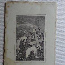 Arte: P. ALABERN ANTIGUO GRABADO DE CRISTO CAIDO , Y CIRINEO PAPEL DURO 14 X 8,8 CM. Lote 47766882