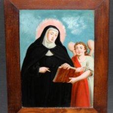 Arte: BELLA PINTURA PINTADA BAJO VIDRIO DE TEMA RELIGIOSO. FINALES SIGLO XVIII. Lote 47863377