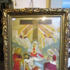 Arte: ANTIGUA LÁMINA ENMARCADA, CON BORDADOS EN HILO DE SEDA - LA VÍRGEN CON JESUCRISTO -. Lote 48105507
