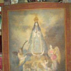 Arte: FANTASTICO OLEO SOBRE TAPIZ DE LA VIRGEN INMACULADA SIGLO 19 O 20. Lote 48189506