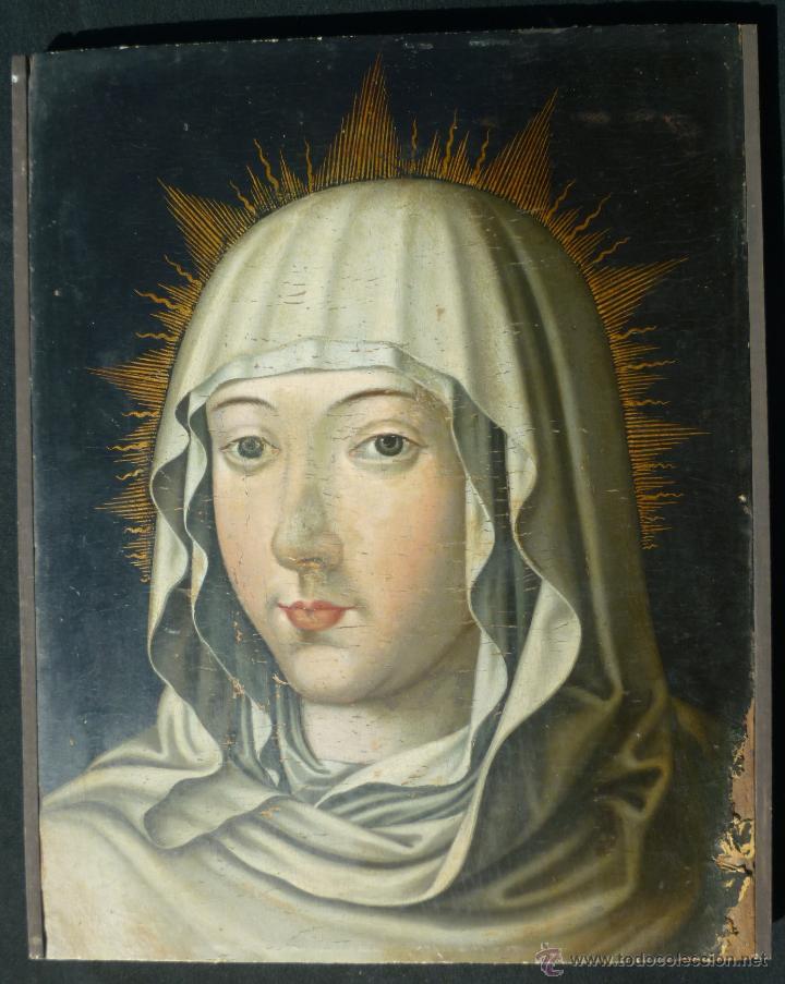 Arte: Óleo sobre tabla. Busto de la Virgen María. 34 x 28 cm. Escuela flamenca. Siglos XV-XVI. - Foto 2 - 48221032