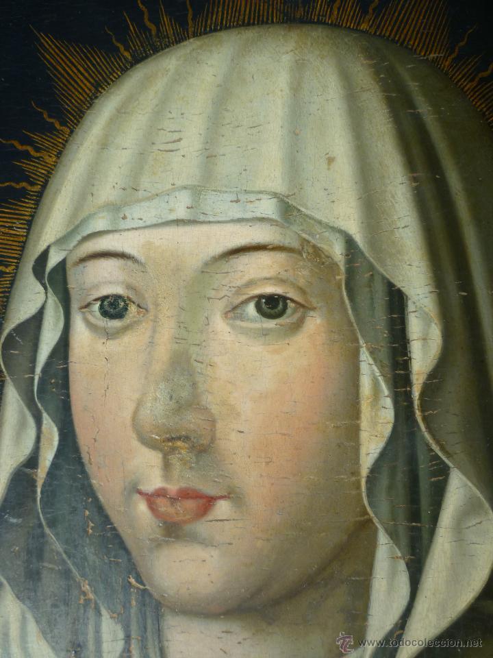 Arte: Óleo sobre tabla. Busto de la Virgen María. 34 x 28 cm. Escuela flamenca. Siglos XV-XVI. - Foto 3 - 48221032