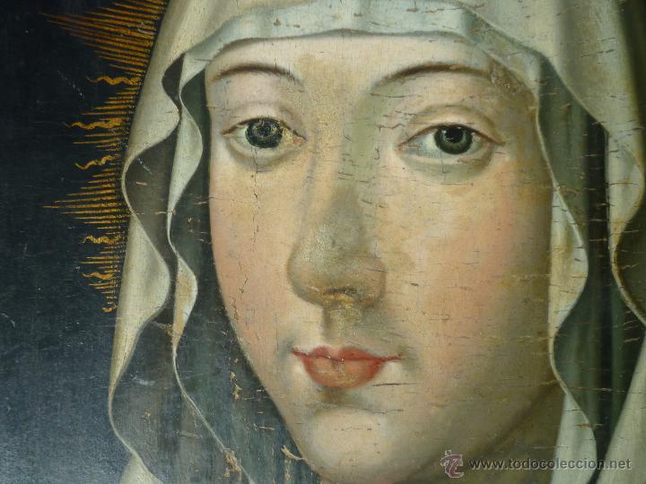 Arte: Óleo sobre tabla. Busto de la Virgen María. 34 x 28 cm. Escuela flamenca. Siglos XV-XVI. - Foto 4 - 48221032