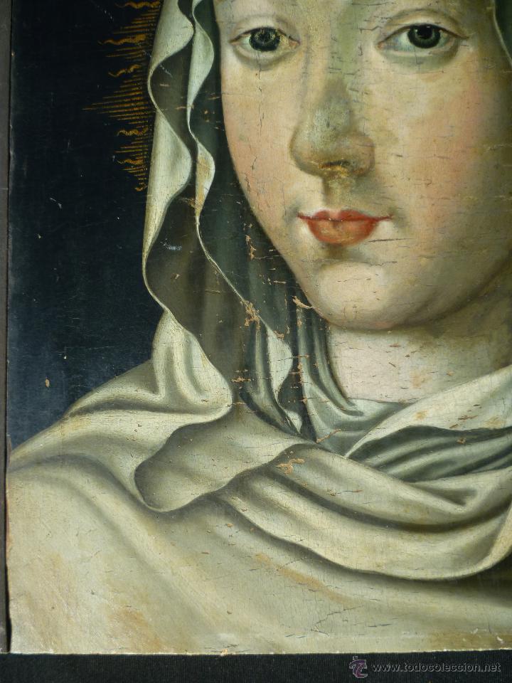 Arte: Óleo sobre tabla. Busto de la Virgen María. 34 x 28 cm. Escuela flamenca. Siglos XV-XVI. - Foto 5 - 48221032
