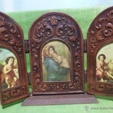 Arte: ANTIGUO TRÍPTICO PLEGABLE PARA VIAJE O PEQUEÑO ALTAR CON IMAGEN DE VIRGEN Y NIÑOS PASTORES. Lote 48360639