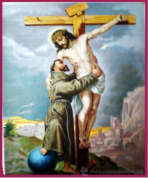 FINAL S.XIX.- LITOGRAFIA ESPAÑOLA ANTIGUA PAPELTELA Y COLOR DE- SAN FRANCISCO DE ASÌS - 39 X 51 CM. (Arte - Arte Religioso - Litografías)