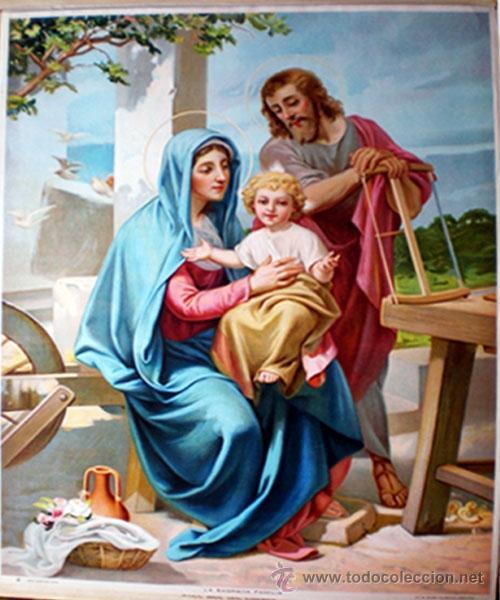 FINALES S.XIX.-LITOGRAFIA ANTIGUA A TODO COLOR EN PAPEL-TELA DE- LA SAGRADA FAMILIA - 39 X 51 CM. (Arte - Arte Religioso - Litografías)