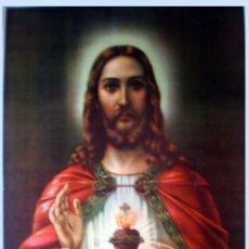 Arte: FINAL S.XIX.-GRAN LITOGRAFIA ANTIGUA A TODO COLOR EN PAPEL-TELA DE- EL CORAZON DE JESUS- 49 X 65 CM.. Lote 53517329