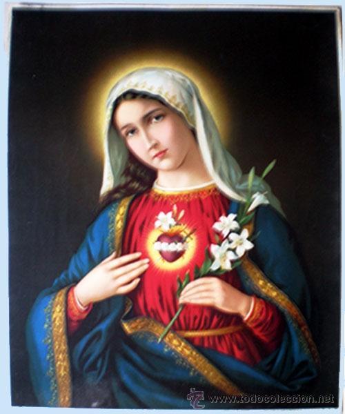 1899.-GRAN LITOGRAFIA ANTIGUA A TODO COLOR EN PAPEL-TELA DEL- EL CORAZON DE MARIA - 49 X 65 CM. (Arte - Arte Religioso - Litografías)